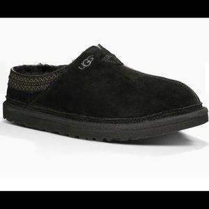 UGG Neuman Black Suede Sheepskin Slippers